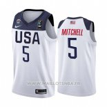 Maillot USA Donovan Mitchell No 5 2019 FIBA Basketball World Cup Blanc