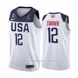 Maillot USA Myles Turner No 12 2019 FIBA Basketball World Cup Blanc