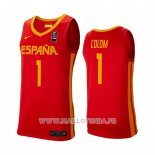 Maillot Espagne Quino Colom No 1 2019 FIBA Baketball World Cup Rouge