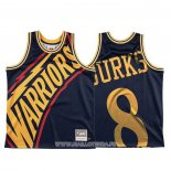 Maillot Golden State Warriors Alec Burks NO 8 Mitchell & Ness Big Face Bleu