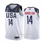 Maillot USA Khris Middleton No 14 2019 FIBA Basketball World Cup Blanc