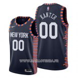 Maillot New York Knicks Enes Kanter No 00 Ville 2019 Bleu
