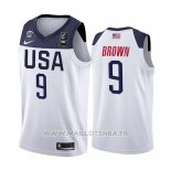 Maillot USA Jaylen Brown No 9 2019 FIBA Basketball World Cup Blanc