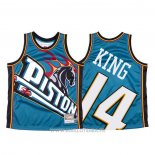 Maillot Detroit Pistons Louis King NO 14 Mitchell & Ness Big Face Bleu