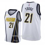 Maillot Indiana Pacers Thaddeus Young No 21 Earned Edition Blanc