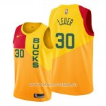 Maillot Milwaukee Bucks Jon Leuer No 30 Ville Jaune