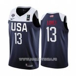 Maillot USA Brook Lopez No 13 2019 FIBA Basketball World Cup Bleu