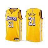 Maillot Los Angeles Lakers J.r. Smith NO 21 Ville 2020 Jaune
