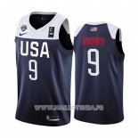 Maillot USA Jaylen Brown No 9 2019 FIBA Basketball World Cup Bleu