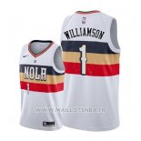 Maillot New Orleans Pelicans Zion Williamson No 1 Earned 2019-20 Blanc