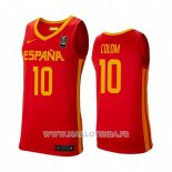 Maillot Espagne Quino Colom No 10 2019 FIBA Baketball World Cup Rouge