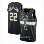 Maillot Milwaukee Bucks Khris Middleton NO 22 Statement 2020-21 Negro