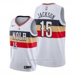 Maillot New Orleans Pelicans Frank Jackson No 15 Earned Blanc