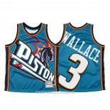 Maillot Detroit Pistons Ben Wallace NO 3 Mitchell & Ness Big Face Bleu