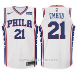 Maillot Enfant Philadelphia 76ers Joel Embiid No 21 Association 2017-18 Blanc