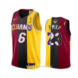Maillot Los Angeles Lakers Lebron James 2020 Fmvp Heat Cavaliers Split Dual Number Rouge Or