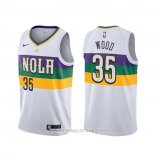 Maillot New Orleans Pelicans Christian Wood NO 35 Ville Blanc