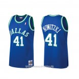 Maillot Dallas Mavericks Dirk Nowitzki No 41 Mitchell & Ness Hardwood Classics Bleu
