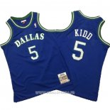 Maillot Dallas Mavericks Jason Kidd No 5 Mitchell & Ness Hardwood Classics Bleu
