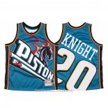 Maillot Detroit Pistons Brandon Knight NO 20 Mitchell & Ness Big Face Bleu