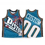 Maillot Detroit Pistons Personnalise NO 0 Mitchell & Ness Big Face Bleu