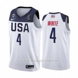 Maillot USA Derrick Blanc No 4 2019 FIBA Basketball World Cup Blanc