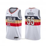 Maillot New Orleans Pelicans E'twaun Moore NO 4 Earned Blanc