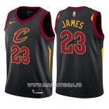 Maillot Enfant Cleveland Cavaliers Lebron James No 23 Statement 2017-18 Noir