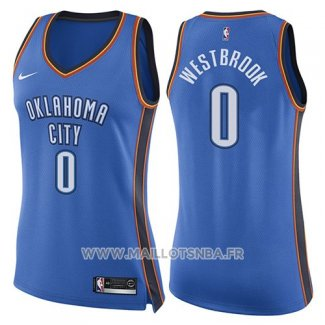 Maillot Femme Oklahoma City Thunder Russell Westbrook No 0 Icon 2017-18 Bleu