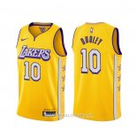 Maillot Los Angeles Lakers Jared Dudley NO 10 Ville 2019-20 Jaune
