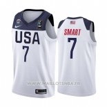 Maillot USA Marcus Smart No 7 2019 FIBA Basketball World Cup Blanc