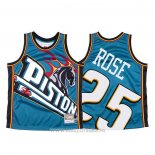 Maillot Detroit Pistons Derrick Rose NO 25 Mitchell & Ness Big Face Bleu