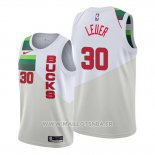 Maillot Milwaukee Bucks Jon Leuer No 30 Earned Blanc