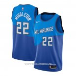 Maillot Milwaukee Bucks Khris Middleton NO 22 Ciudad 2020-21 Azul