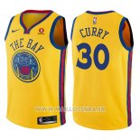 Maillot Enfant Golden State Warriors Stephen Curry No 30 Ville Jaune