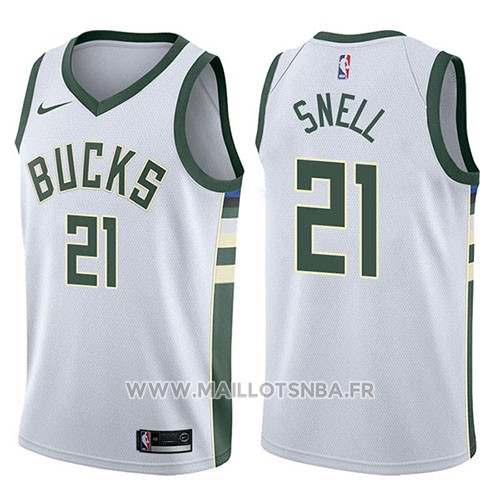 Maillot Milwaukee Bucks Tony Snell No 21 Swingman Association 2017-18 Blanc